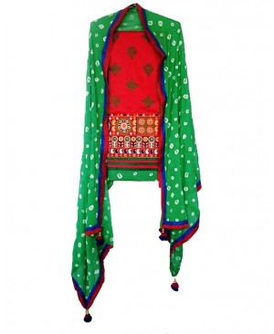 Red & Green Punjabi Suit