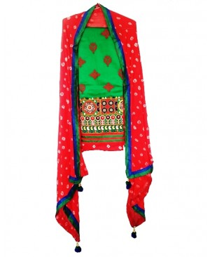 Green & Red Punjabi  Suit