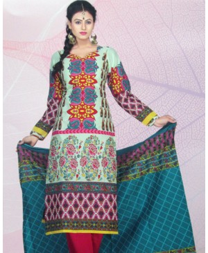 Multicolor Floral Printed Cotton Suit