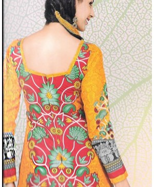 Orange & Green Printed Cotton Suit