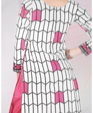 Pink & White Printed Cotton Suit