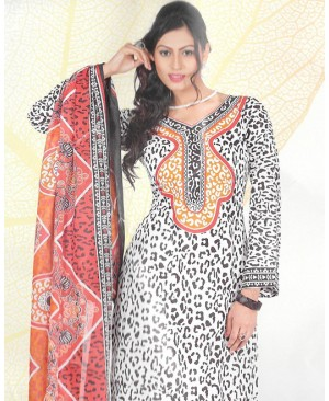 White & Orange Printed Cotton Suit