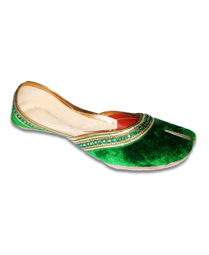 Green Golden Velvet Casual Punjabi Jutti