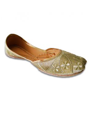 Golden Embroidered Casual Punjabi Jutti