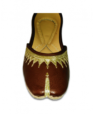Dark Brown Golden Embroidered Casual Punjabi Jutti