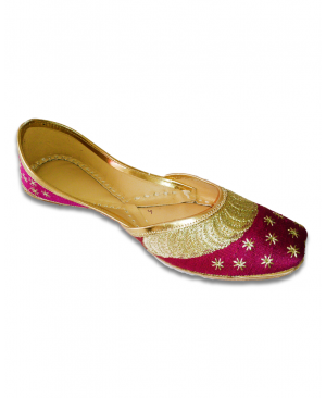 Purple Golden Embroidered Casual Punjabi Jutti