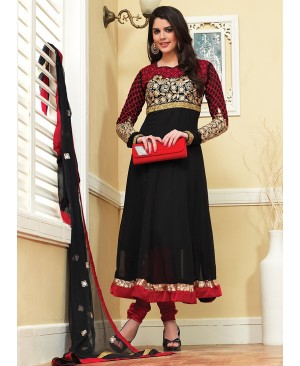 Black & Maroon Anarkali Suit