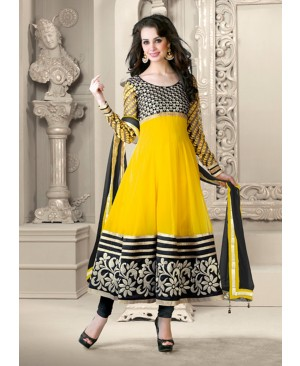 Yellow & Black Anarkali Suit