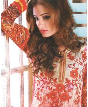 Red Mix Georgette Designer Suit