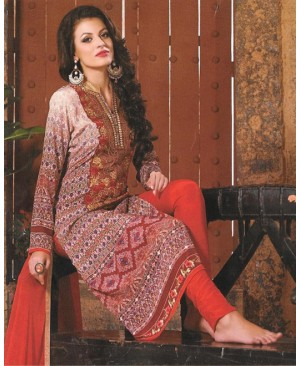 Brown Mix Georgette Designer Suit
