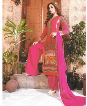 Pink Mix Georgette Designer Suit