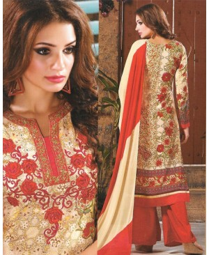 Yellow & Red Mix Georgette Designer Suit