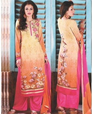 Yellow & Pink Mix Georgette Designer Suit