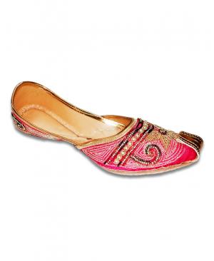 Golden Pink Punjabi Nokdaar Jutti