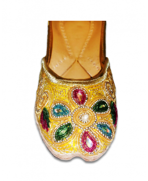 Yellow Casual Jutti with Multicolor handwork