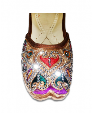 Multicolored Embroidery Golden Casual Jutti Beads & Pearls Handwork