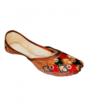 Golden Casual Jutti Multicolored Embroidery with Mirror Handwork