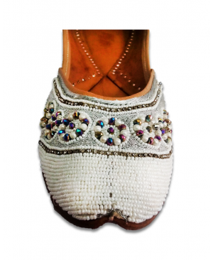 White Casual Punjabi Jutti with Heavy Pearl Handwork