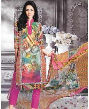 Multi Color Printed Pink Cambric Cotton Suit