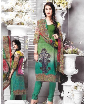 Green Printed Multi Color Cambric Cotton Suit