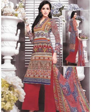 Red Printed Pure Cambric Cotton Suit