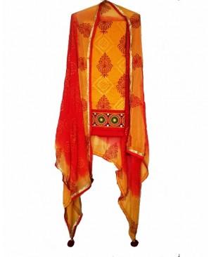 Yellow & Red Punjabi Suit