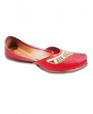 Maroon Multicolored Embroidered Casual Punjabi Jutti