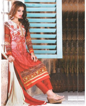 Red Mix Georgette Designer Suit
