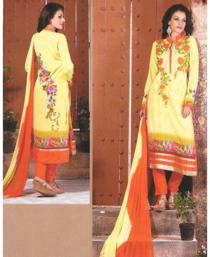 Yellow & Orange Mix Georgette Designer Suit