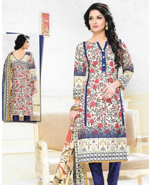 Cream & Blue Printed Cotton Suit