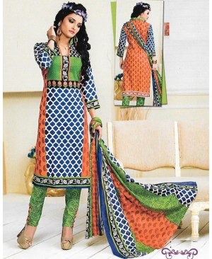 Orange & Blue Printed Cotton Suit