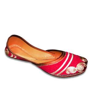 Pink Golden Embroidered Casual Jutti