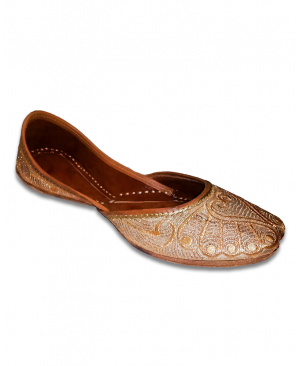 Brown Golden Embroidered Casual Punjabi Jutti