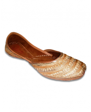 Brown Golden Embroidered Casual Jutti