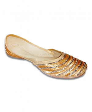 Golden Casual Jutti with bead's embroidery