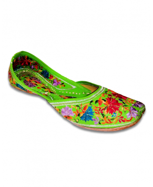 Multicolored Embroidery Parrot Green Casual Jutti