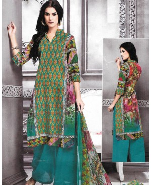 Dark Turquoise Multi Color Cambric Cotton Printed Suit