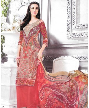 Red Printed Multi Color Cambric Cotton Suit