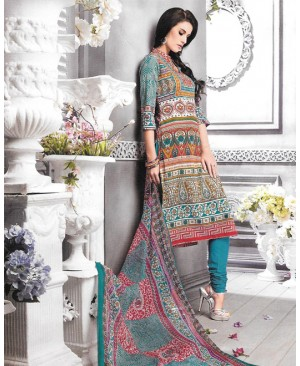Printed Turquoise Blue Cambric Cotton Suit