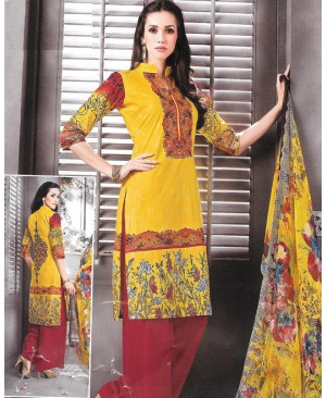 Yellow & Red Printed Cambric Cotton Suit