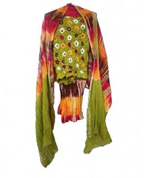 Parrot Green Bhandhej Suit