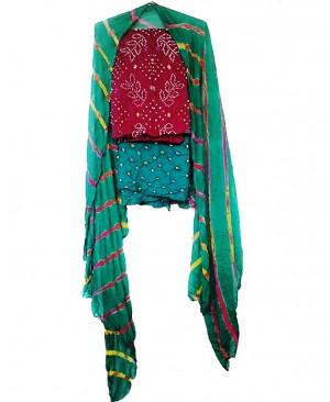 Purple &  Peacock Bhandhej Suit