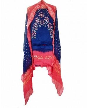 Blue & Pink Bhandhej Suit