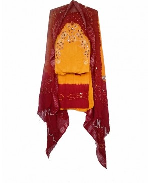 Red & Yellow Bhandhani Suit