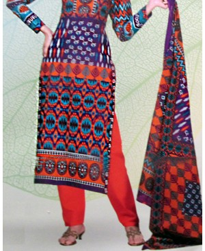 Purple & Orange Printed Cotton Suit