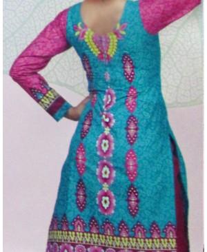 Purple & Blue Printed Cotton Suit