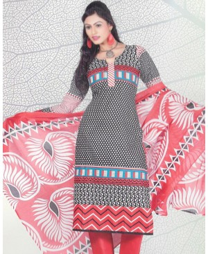 Black & Red Printed Cotton Suit