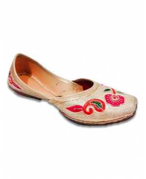 Golden Jutti with Flowered Embroidery