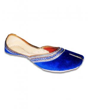 Blue Golden Velvet Casual Punjabi Jutti