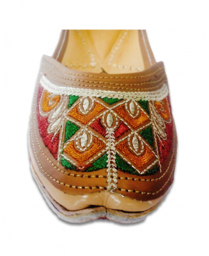 Multicolored Embroidery Golden Casual Punjabi Jutti